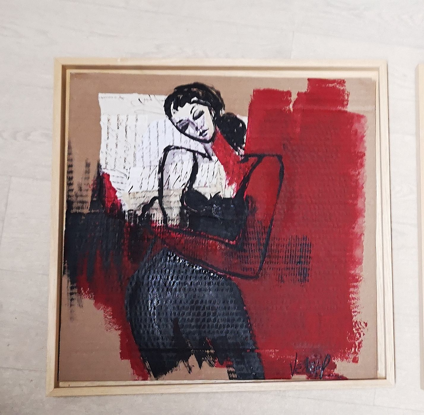 Croquis collage - petite silouhette - acrylique  sur carton