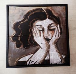 portrait collages 1 - acrylique  sur carton