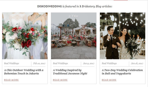 Diskodiwedding Wedding DJ Indonesia is featured in 3 Bridestory Articles - A chic outdoor wedding with a bohemian touch in jakarta - a wedding inspired by traditional javanese night - a two day wedding celebration in bali and yogyakarta