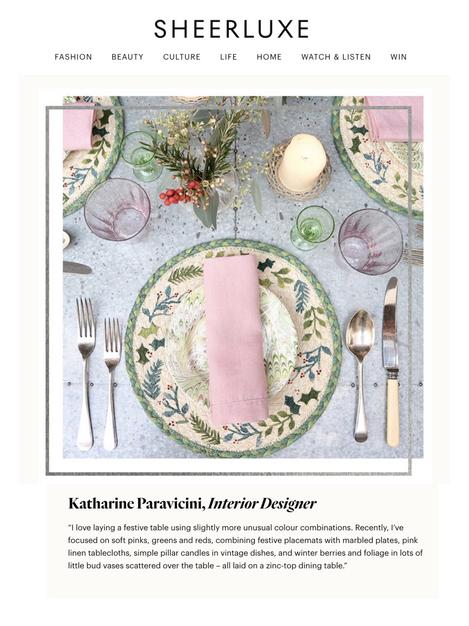 Katharine Paravicini on Sheerluxe Christmas