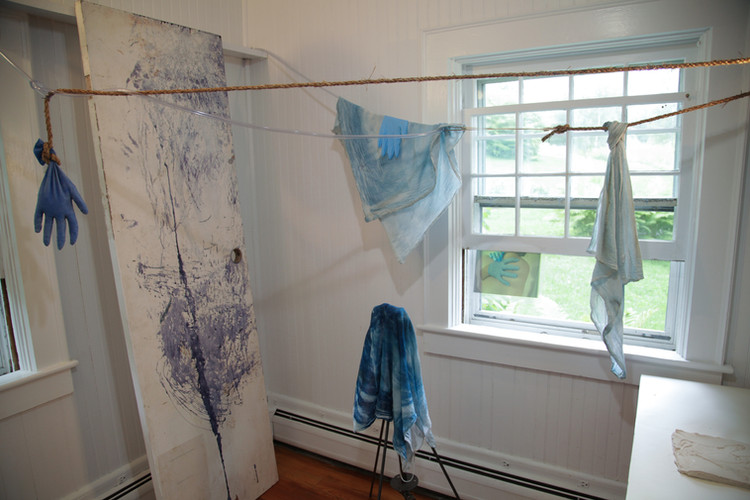 Installation (Marble House Projects), cyanotype fabrics, rope, wood, cement, rubber gloves, medical tubing