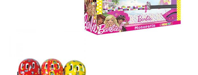 Combo(Scooter Barbie,Casco Surt/3 Rojo-Rosado-Celeste)