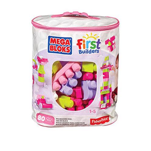 Bolsa Grande Mega Bloks de Construcción Rosada 80 pzs 1-5años