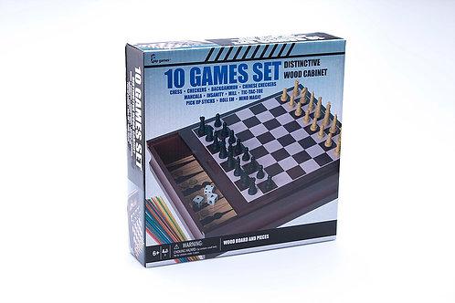 Caja de Madera con 10 Juegos de Mesa 6a+