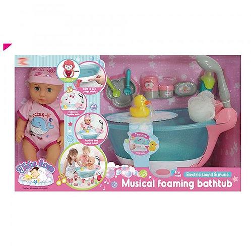 Bebé con Bañera Musical y Accesorios 3a+
