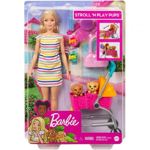 Muñeca Barbie Pasea y Juega con Cachorros 3a+