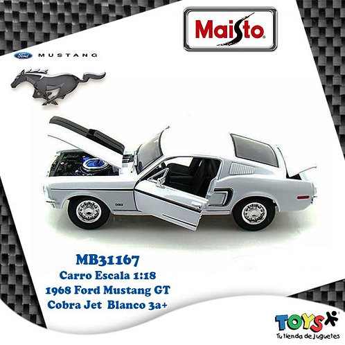 Carro 1:18 1968 Ford Mustang GT Cobra Jet 3a+