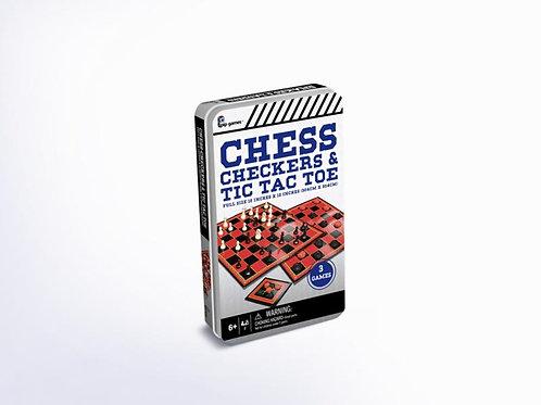 Juego Tablero Chess / Checkers / Tic Tac Toe 3en1 6a+ / ( PP819 )