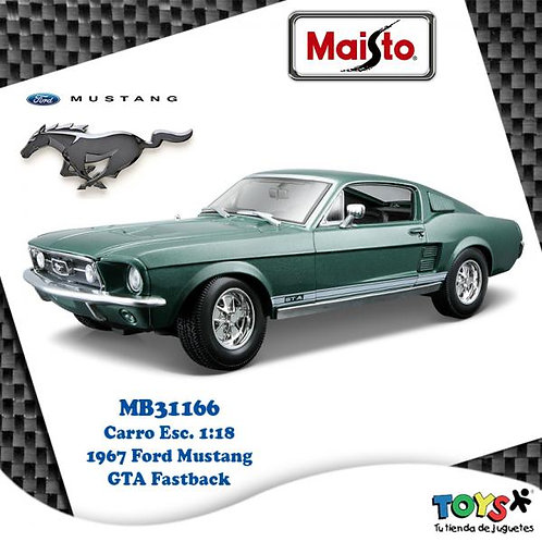 Carro 1:18 1967 Ford Mustang GTA Fastback 3a+