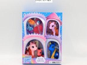 Happy Pony World Castillo Unicornio Set de 4 C/Accesorios 3a+