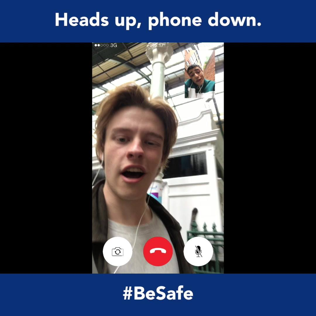 Heads up. Phone down. Take rail safety on board. #BeSafe