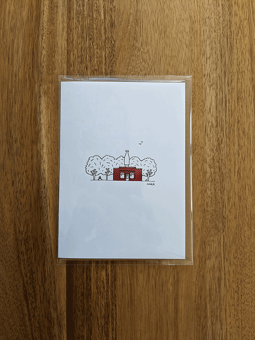 Milk Bottle Building Red - greeting card