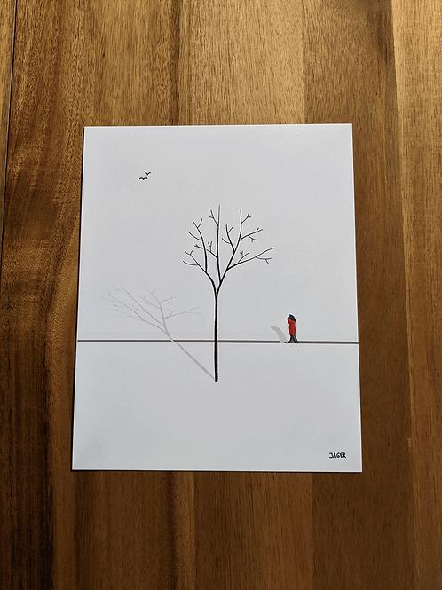 Snow Walk + woodpecker - 8 x 10in print