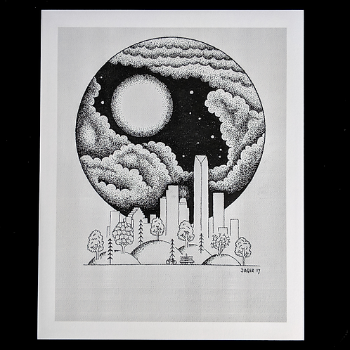 Skyline And Moon
