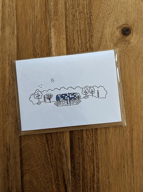 Myriad Gardens Blue - greeting card