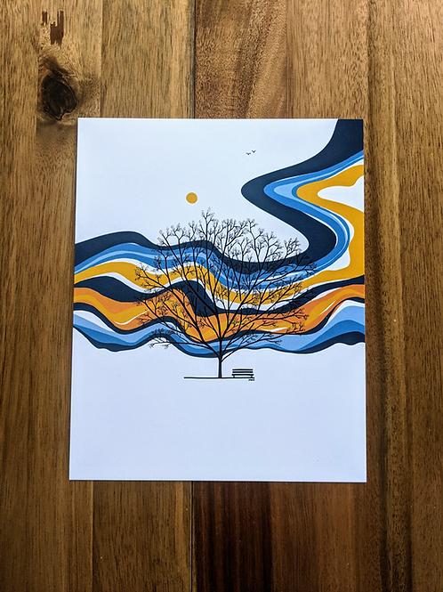 Tree Blue Yellow Orange - print