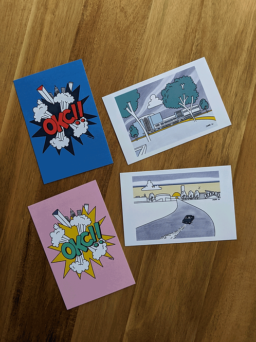 OKC Pop Art - package of 4