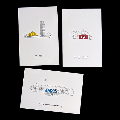 OKC Architecture Red Yellow Blue - package of 3