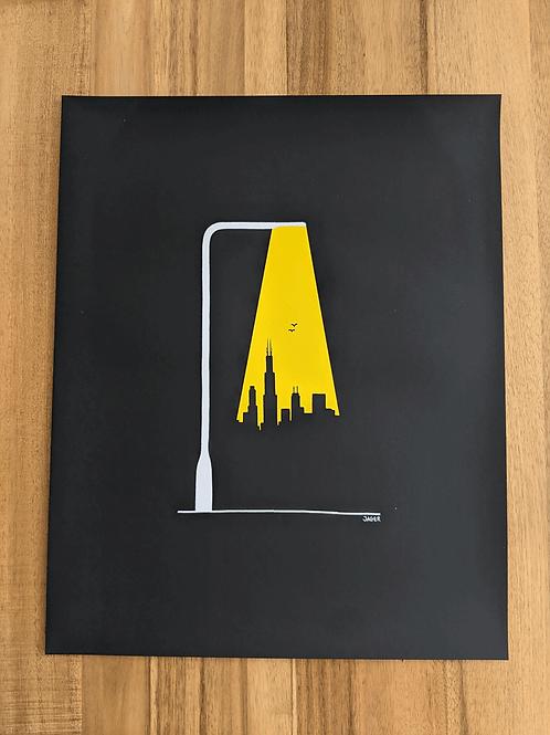 Chicago City Light - 16 x 20in silk screen print