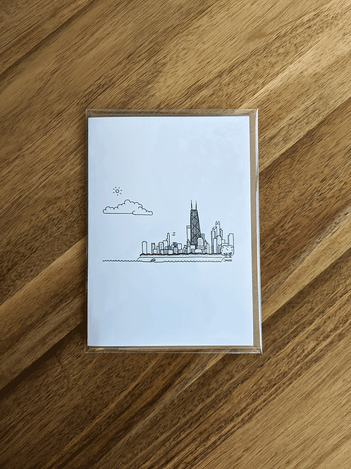 Chicago Skyline Hancock - greeting card