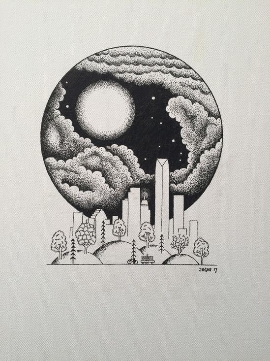 OKC Skyline and Moon