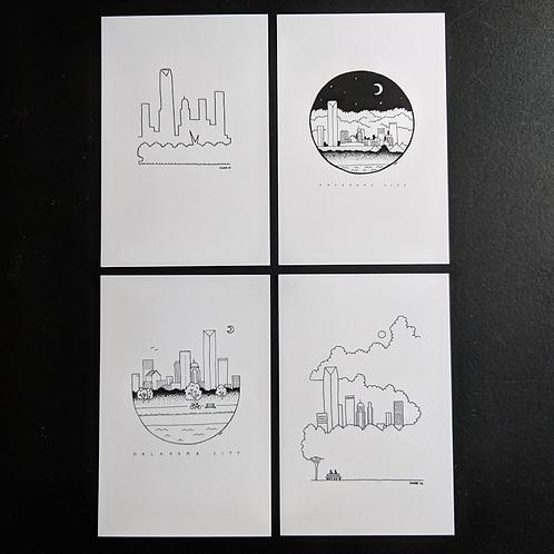 OKC skyline - package of 4