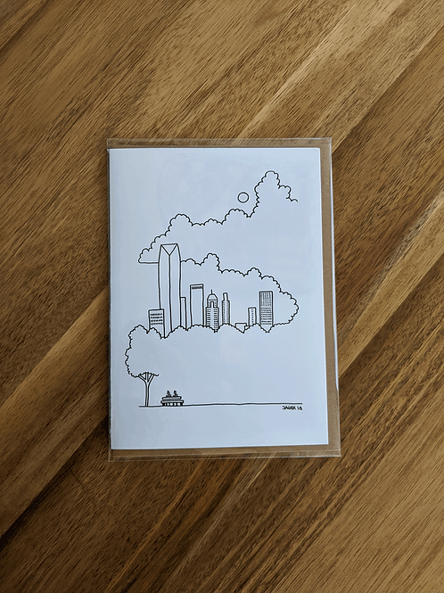 OKC Skyline in the Clouds - greeting card