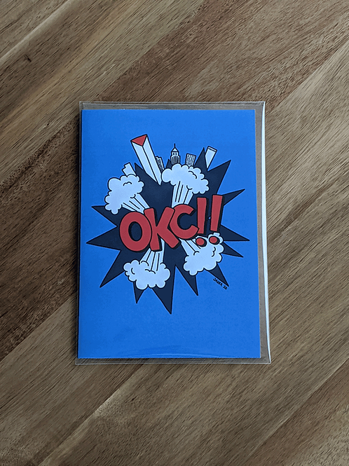 OKC!! Blue Orange - greeting card