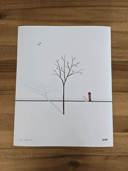 Snow Walk + woodpecker - 16 x 20in LARGE print