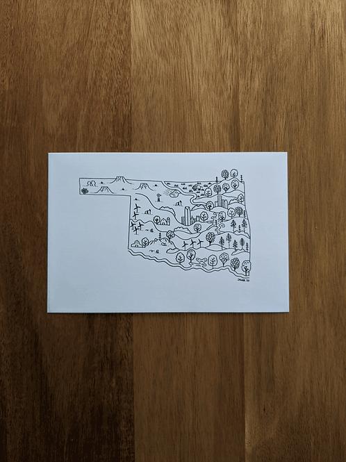 Oklahoma Map 2020 - postcard