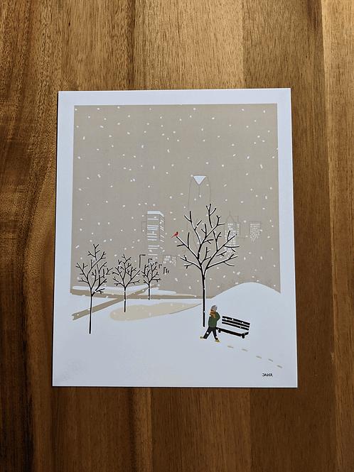 Winterstorm OKC + northern cardinal - 8 x 10in print