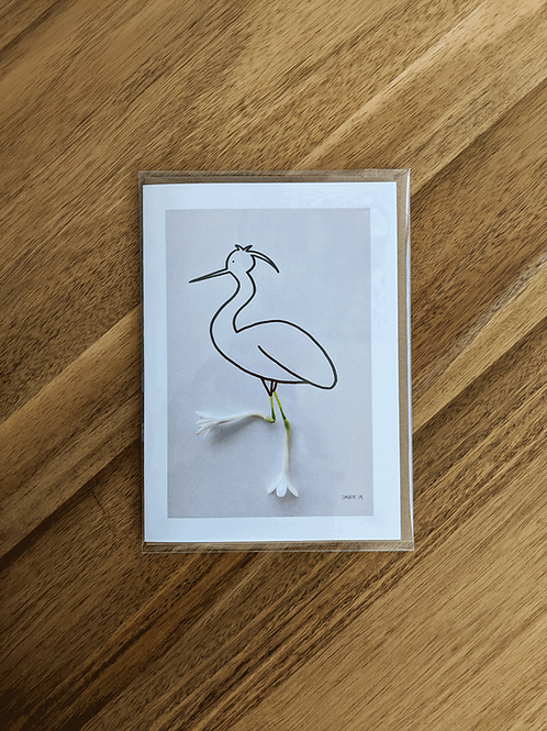 Immature Snowy Egret - greeting card