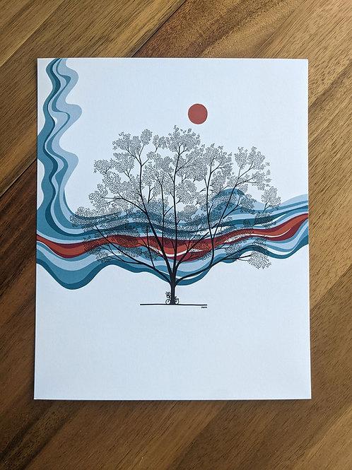 Tree Blue Red Orange - print