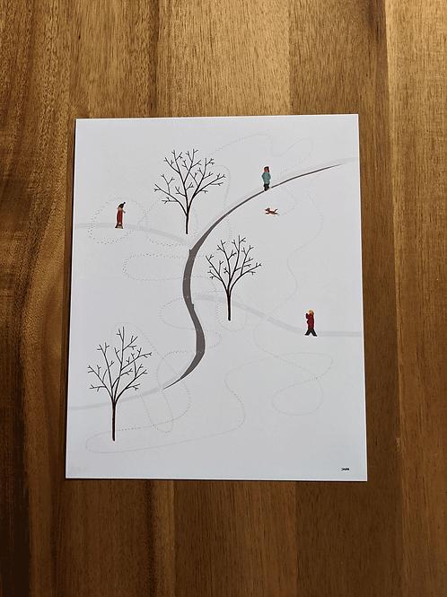 Dog In Snow - 8 x 10in print