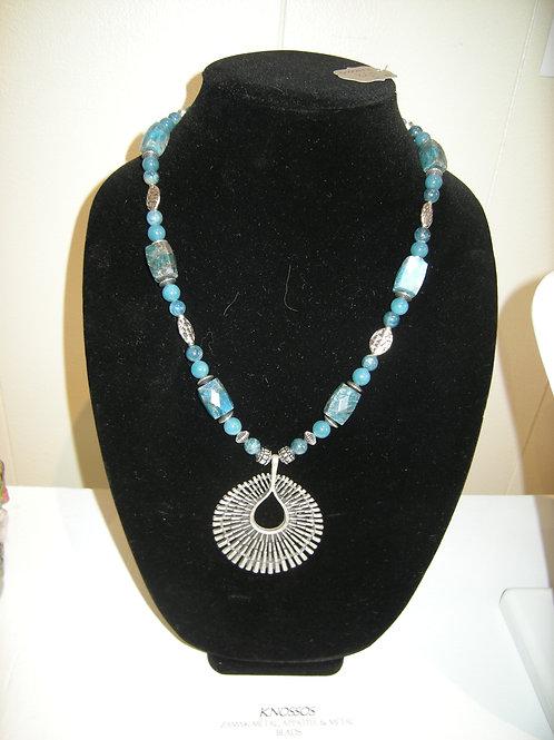 """Knossos"" Zamak Mteal/Appatite beaded Necklace"