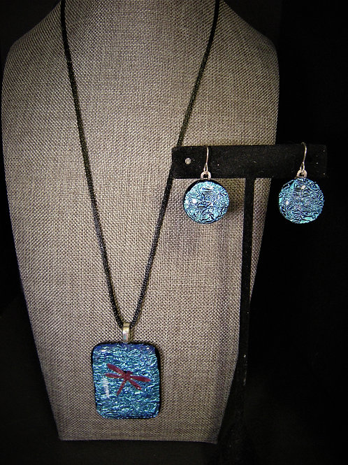 Dichroic Fused Glass Dragonfly and earring set