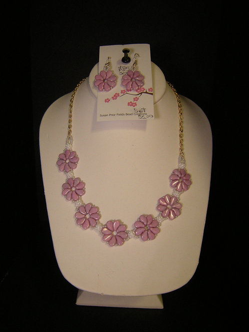 Hand Beaded necklace and earring set