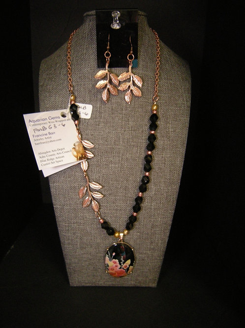 Black enamel pendant/copper necklace and earring set