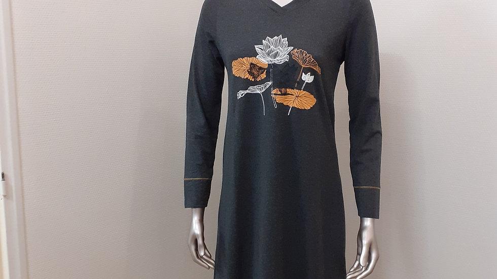 chemise de nuit grise nénuphar du 36 au 52
