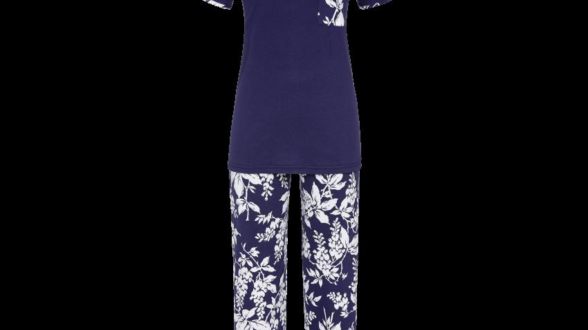 pyjama bleu fleur blanche