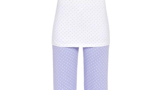 pyjama bleu ciel à pois blanc