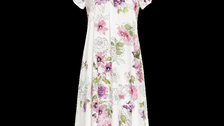 chemise de nuit blanche fleuri