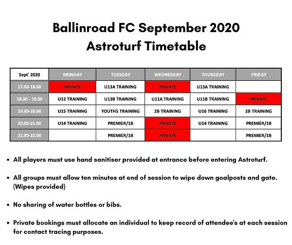 Ballinroad FC September 2020 Astroturf T