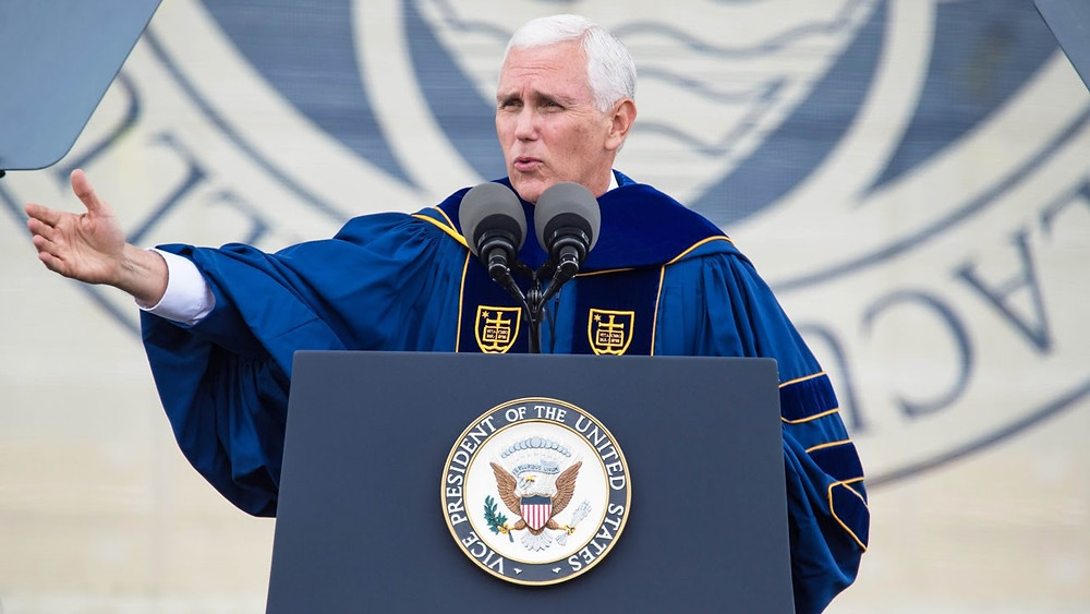 Mike Pence delivering commencement address at Notre Dame University in 2017