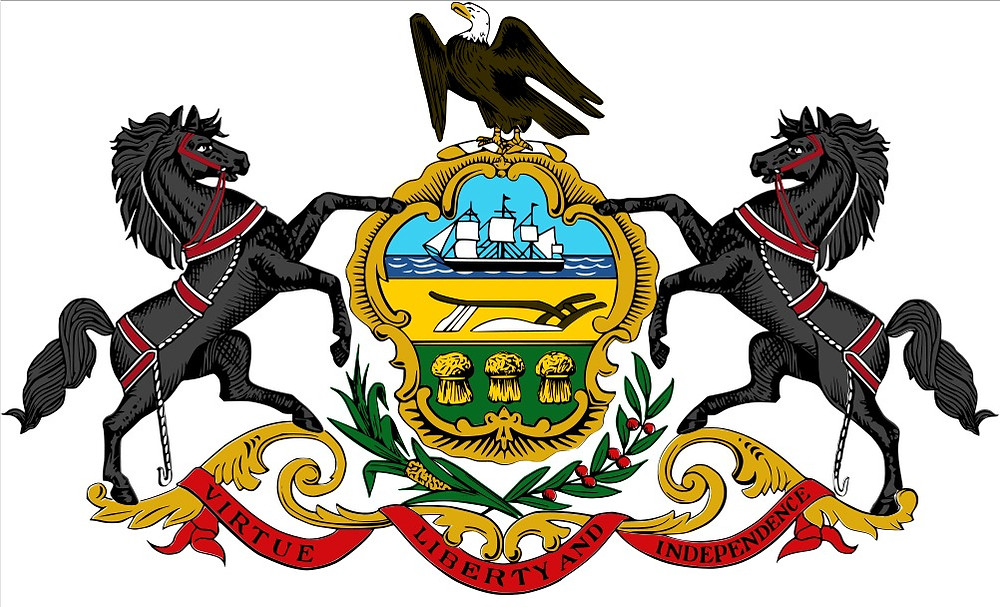 "Pennsylvania coat of arms: ""Virtue, Liberty, and Independence"""