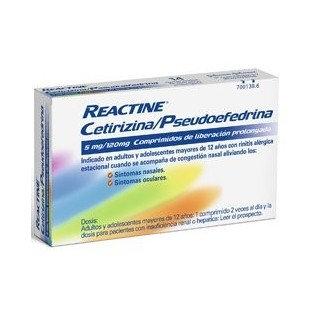 Reactine Cetirizina/Pseu5 Mg/120 Mg 14 Compr Lib