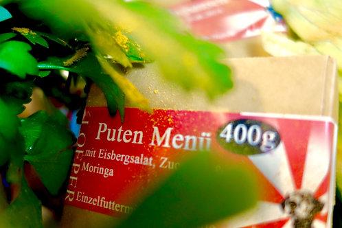 Barf Puten Menü mit Eisbergsalat, Zucchini & Moringa