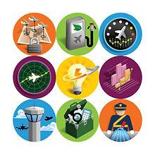 Icônes pour l'Organisation de l'Aviation Civile Internationale des Nations Unies OACI