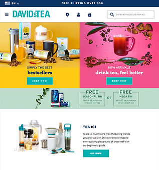 David's Tea Webpage Artistic Direction and Design