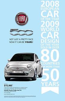 Publicité pour la nouvelle Fiat 500